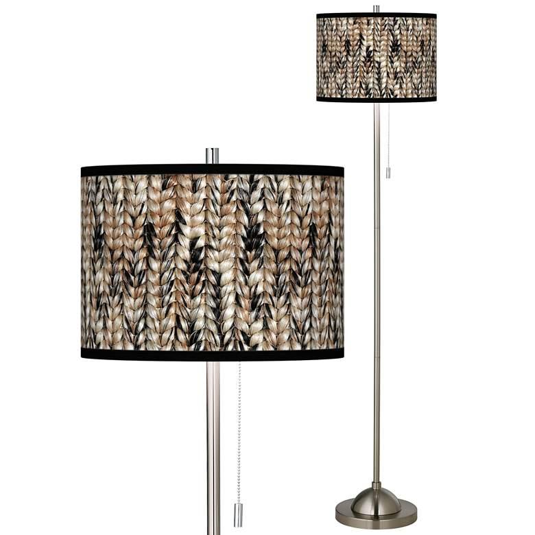 Braided Jute Brushed Nickel Pull Chain Floor Lamp
