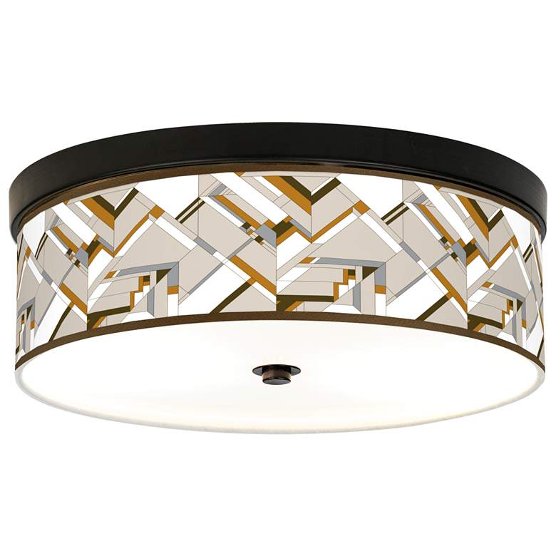 Craftsman Mosaic Giclee Energy Efficient Bronze Ceiling Light