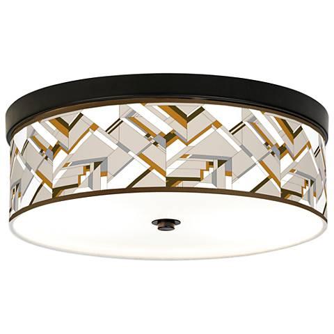 Craftsman Mosaic Giclee Energy Efficient Bronze Ceiling Light