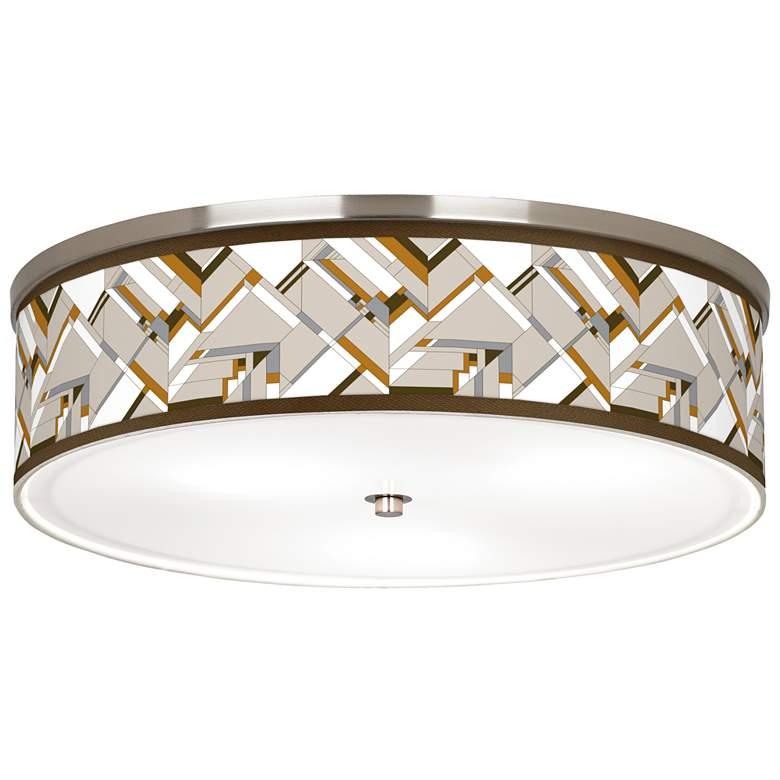 "Craftsman Mosaic Giclee Nickel 20 1/4"" Wide Ceiling Light"