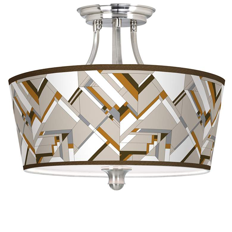 Craftsman Mosaic Tapered Drum Giclee Ceiling Light