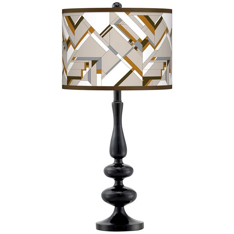Craftsman Mosaic Giclee Paley Black Table Lamp