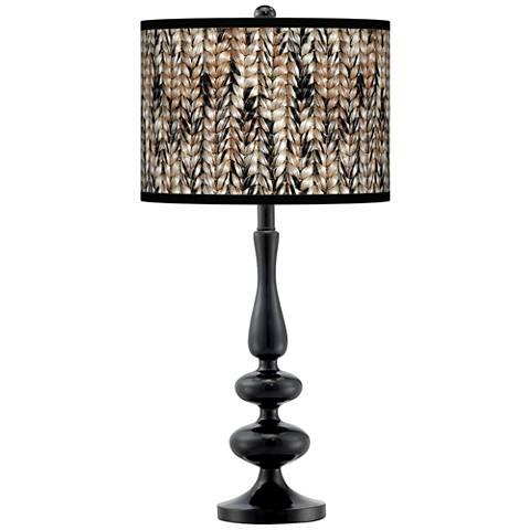 Braided Jute Giclee Paley Black Table Lamp