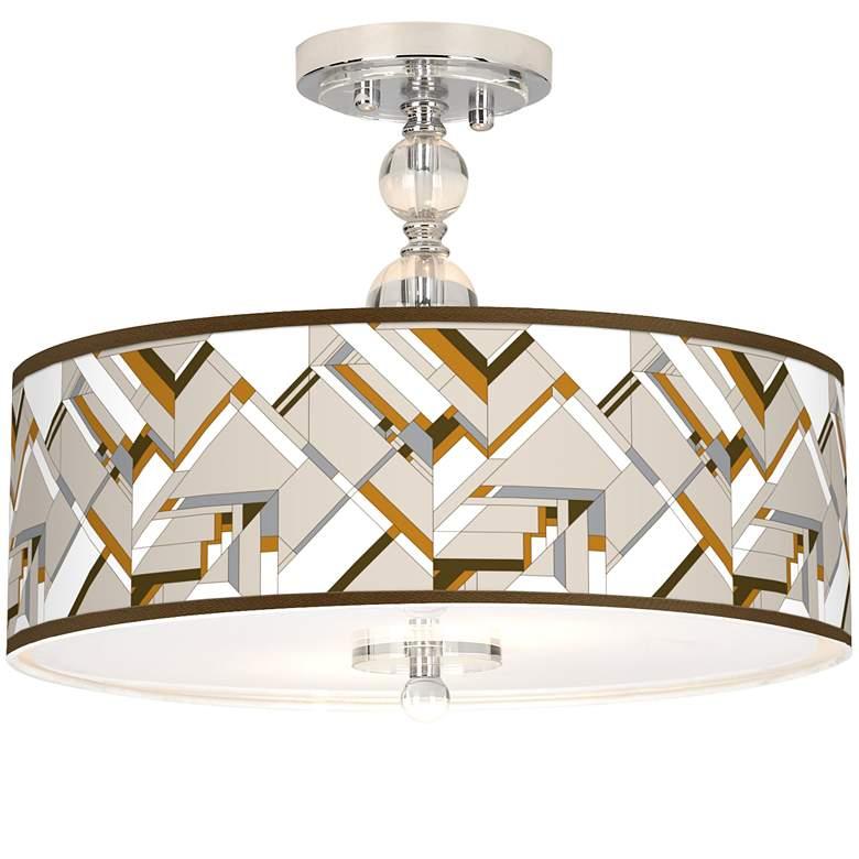 "Craftsman Mosaic Giclee 16"" Wide Semi-Flush Ceiling Light"