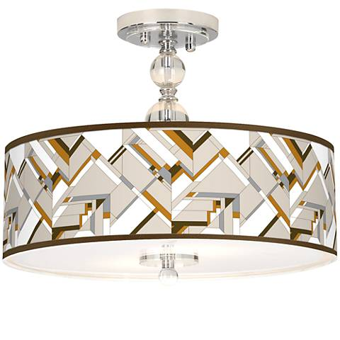 "Craftsman Mosaic Giclee 16"" Wide Semi-Flush Ceiling Light"