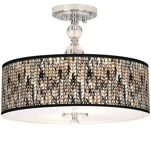 """Braided Jute Giclee 16"""" Wide Semi-Flush Ceiling Light"""