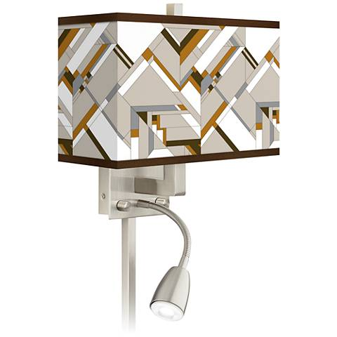 Craftsman Mosaic Giclee Glow LED Reading Light Plug-In Sconce