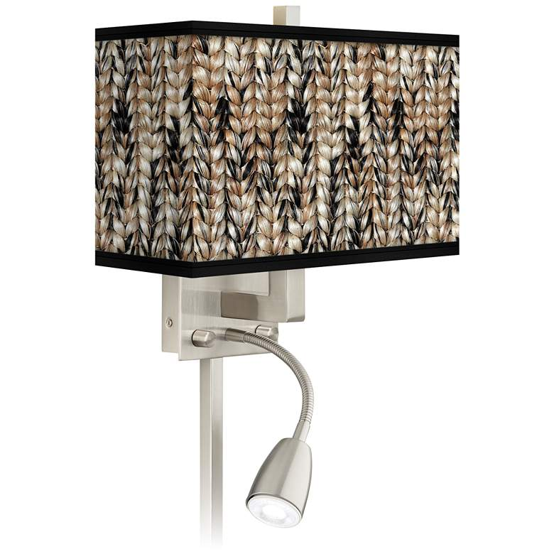 Braided Jute Giclee Glow LED Reading Light Plug-In Sconce