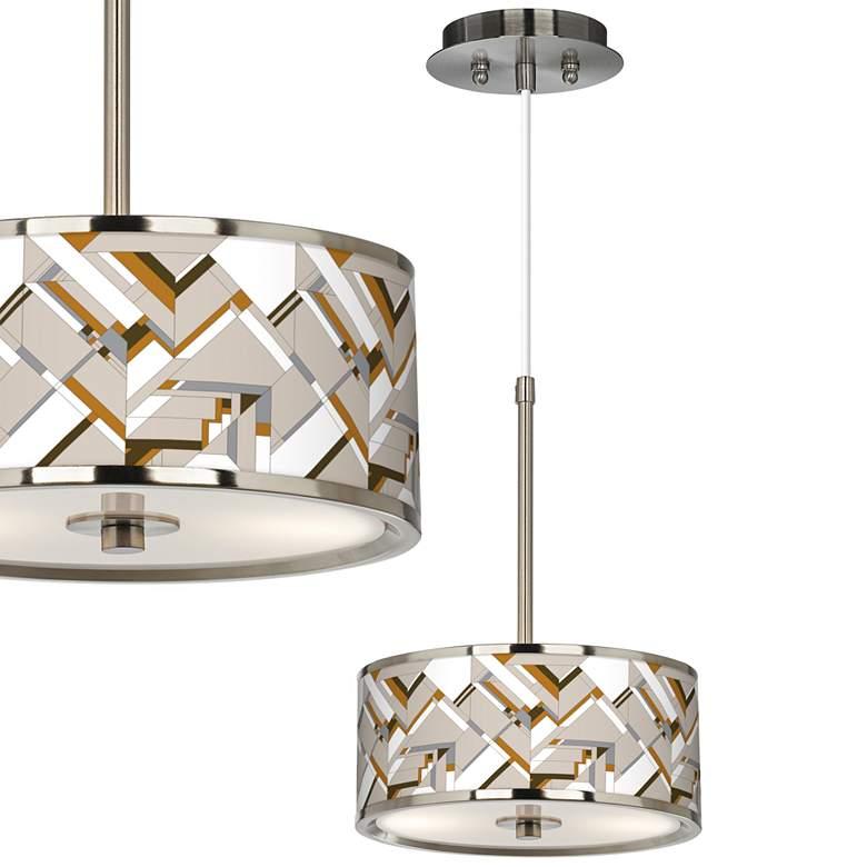 "Craftsman Mosaic Giclee Glow 10 1/4"" Wide Pendant Light"