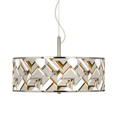 "Craftsman Mosaic Giclee Glow 20"" Wide Pendant Light"