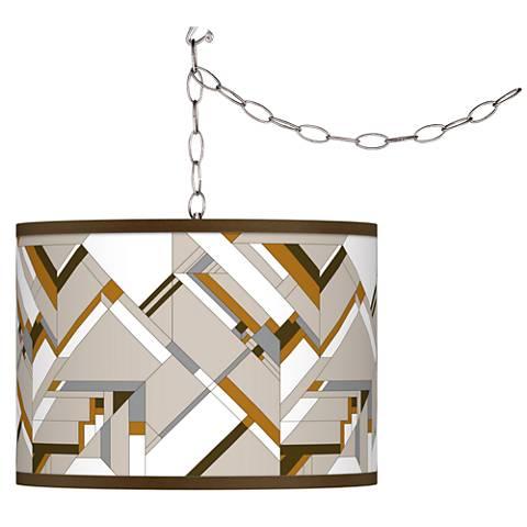 Craftsman Mosaic Giclee Glow Plug-In Swag Pendant