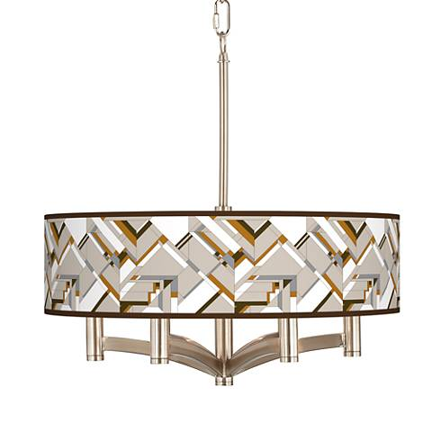 Craftsman Mosaic Ava 6-Light Nickel Pendant Chandelier