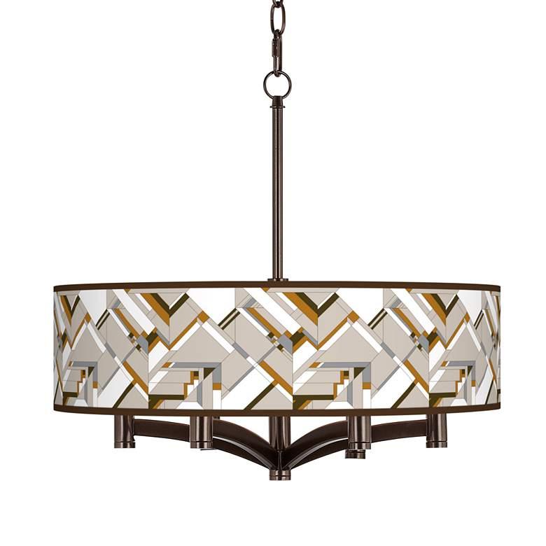 Craftsman Mosaic Ava 6-Light Bronze Pendant Chandelier