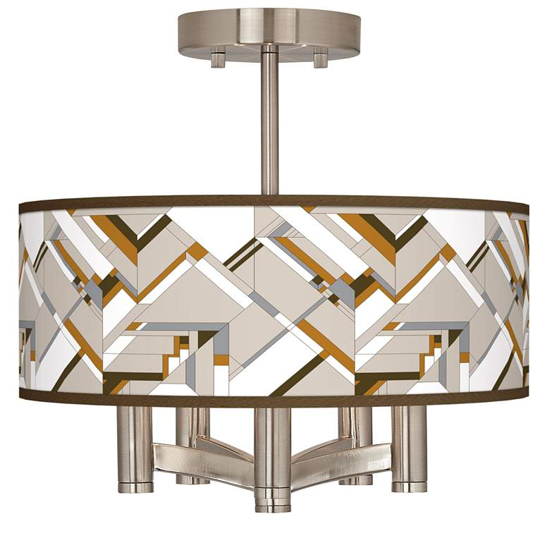 Craftsman Mosaic Ava 5-Light Nickel Ceiling Light