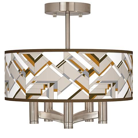 Craftsman Mosaic Ava 5-Light Nickel Ceiling Light