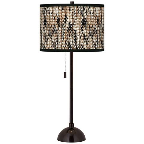 Braided Jute Giclee Glow Tiger Bronze Club Table Lamp