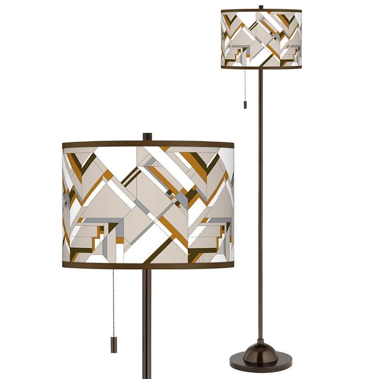 Craftsman Mosaic Giclee Glow Bronze Club Floor Lamp