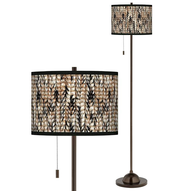 Braided Jute Giclee Glow Bronze Club Floor Lamp