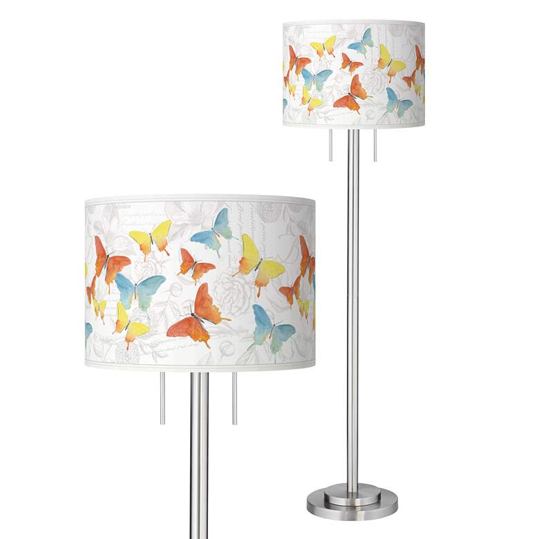 Pastel Butterflies Giclee Brushed Nickel Garth Floor Lamp