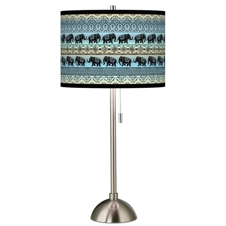 Elephant March Giclee Brushed Nickel Table Lamp
