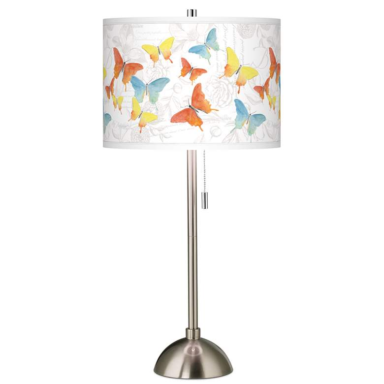 Pastel Butterflies Giclee Brushed Nickel Table Lamp