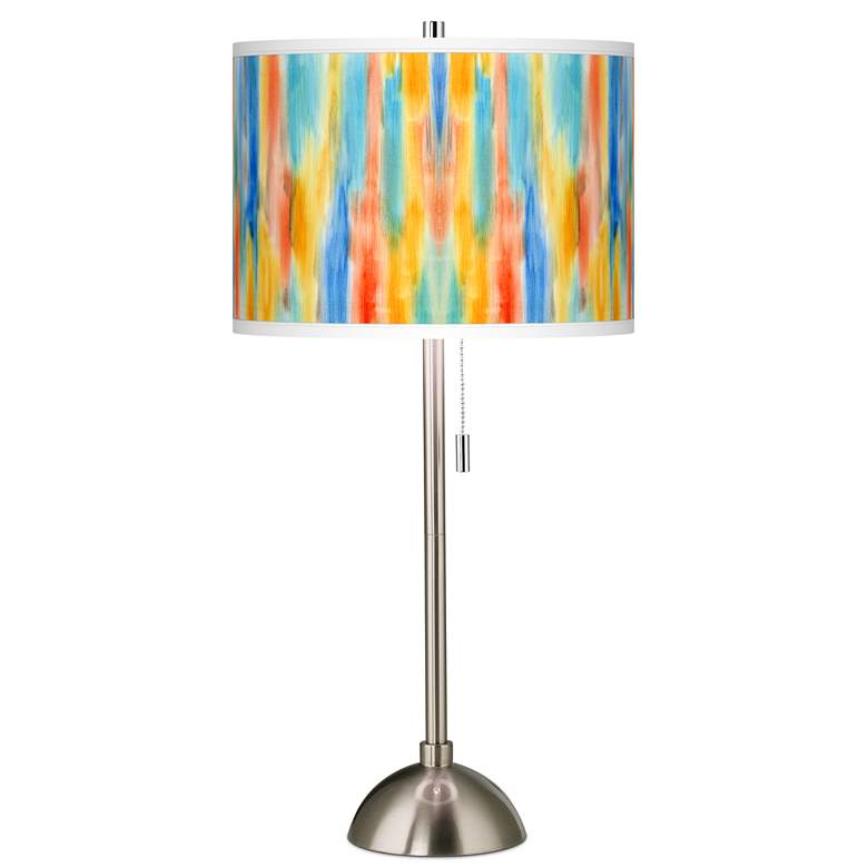 Tricolor Wash Giclee Brushed Nickel Table Lamp