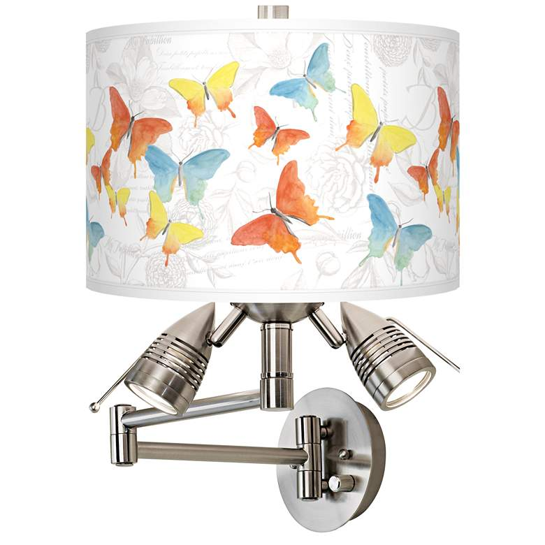 Pastel Butterflies Giclee Plug-In Swing Arm Wall Lamp