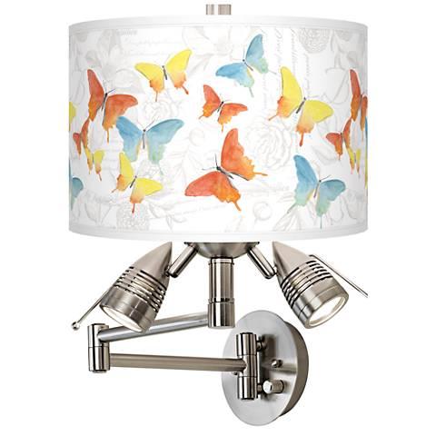 Pastel Butterflies Giclee Swing Arm Wall Lamp