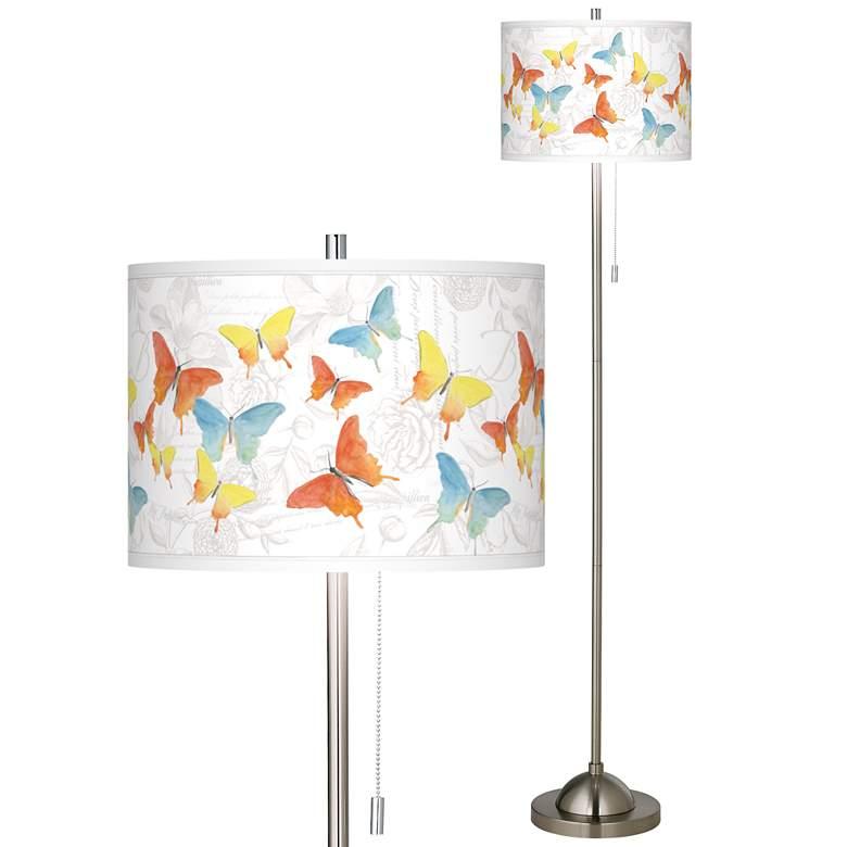 Pastel Butterflies Brushed Nickel Pull Chain Floor Lamp