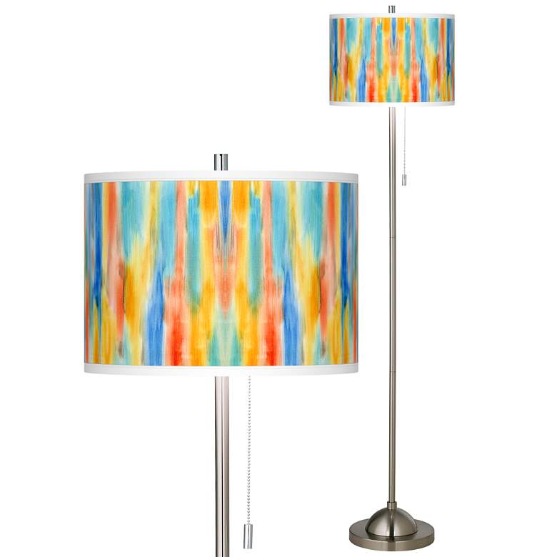 Tricolor Wash Brushed Nickel Pull Chain Floor Lamp
