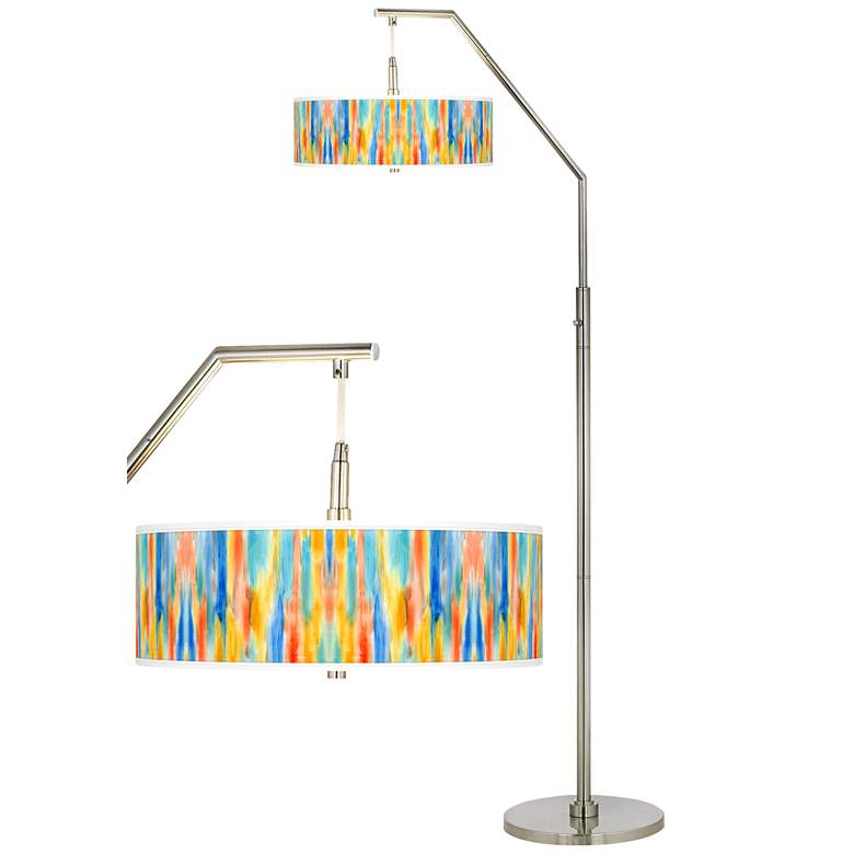 Tricolor Wash Giclee Shade Arc Floor Lamp