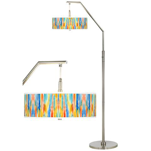 Tricolor Wash Giclee Shade Arc Floor Lamp