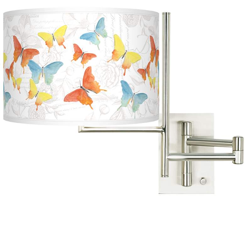 Tempo Pastel Butterflies Plug-in Swing Arm Wall Lamp