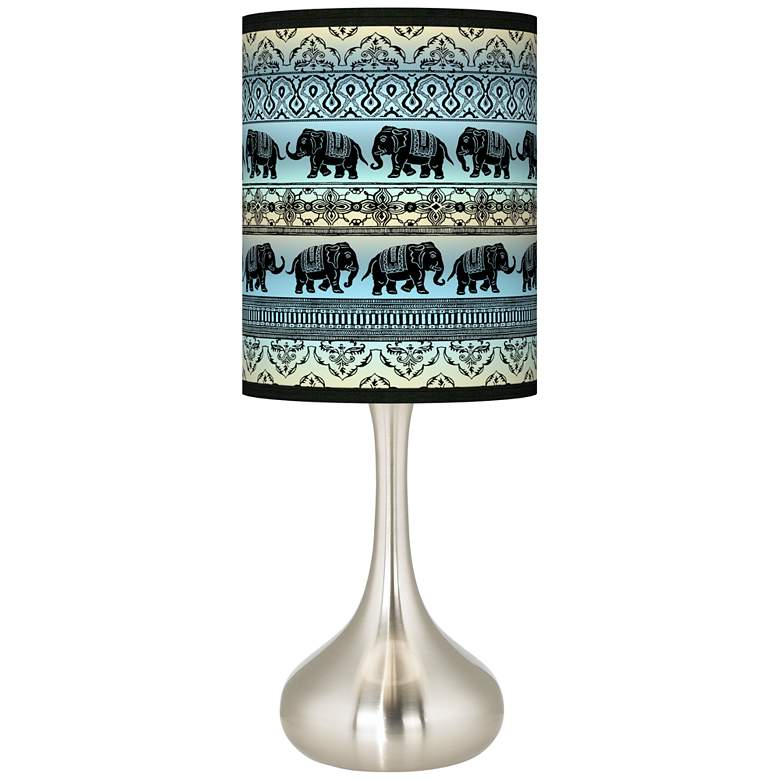 Elephant March Giclee Droplet Table Lamp