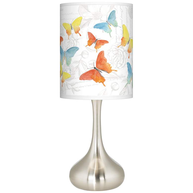 Pastel Butterflies Giclee Droplet Table Lamp