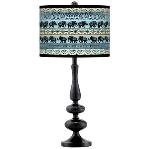 Elephant March Giclee Paley Black Table Lamp