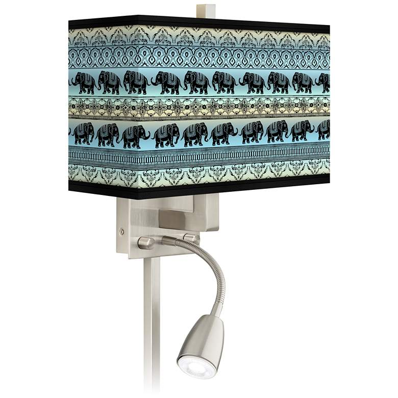 Elephant March Giclee Glow LED Reading Light Plug-In Sconce