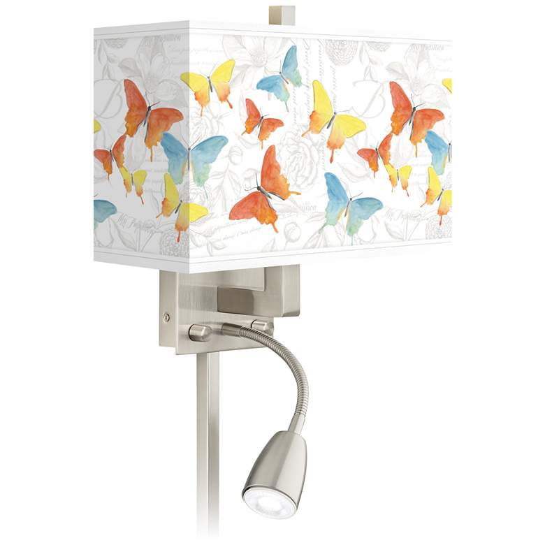 Pastel Butterflies Giclee Glow LED Reading Light Plug-In