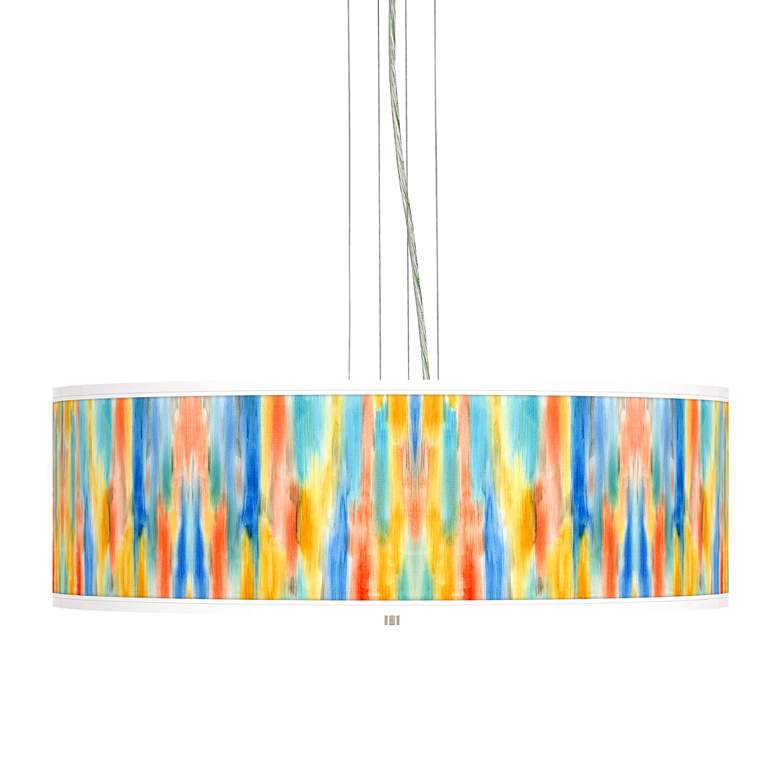 "Tricolor Wash Giclee 24"" Wide 4-Light Pendant Chandelier"