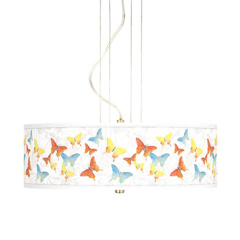 "Pastel Butterflies 20"" Wide 3-Light Pendant Chandelier"