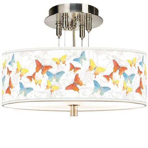 "Pastel Butterflies Giclee 14"" Wide Ceiling Light"