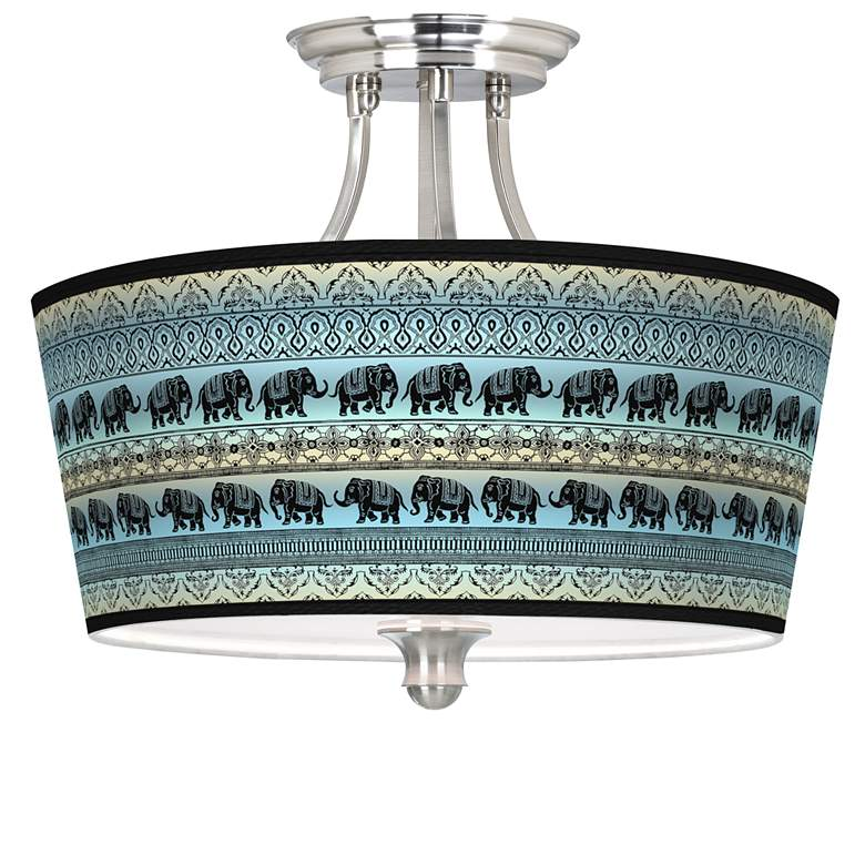 Elephant March Tapered Drum Giclee Ceiling Light