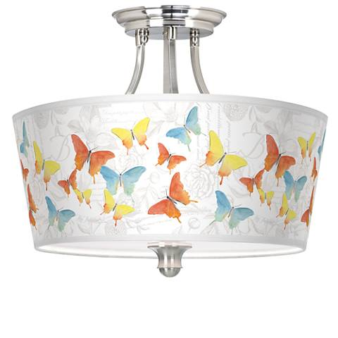 Pastel Butterflies Tapered Drum Giclee Ceiling Light