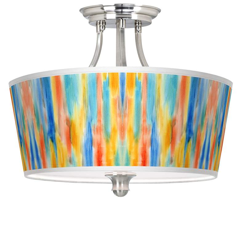 Tricolor Wash Tapered Drum Giclee Ceiling Light