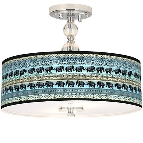 "Elephant March Giclee 16"" Wide Semi-Flush Ceiling Light"