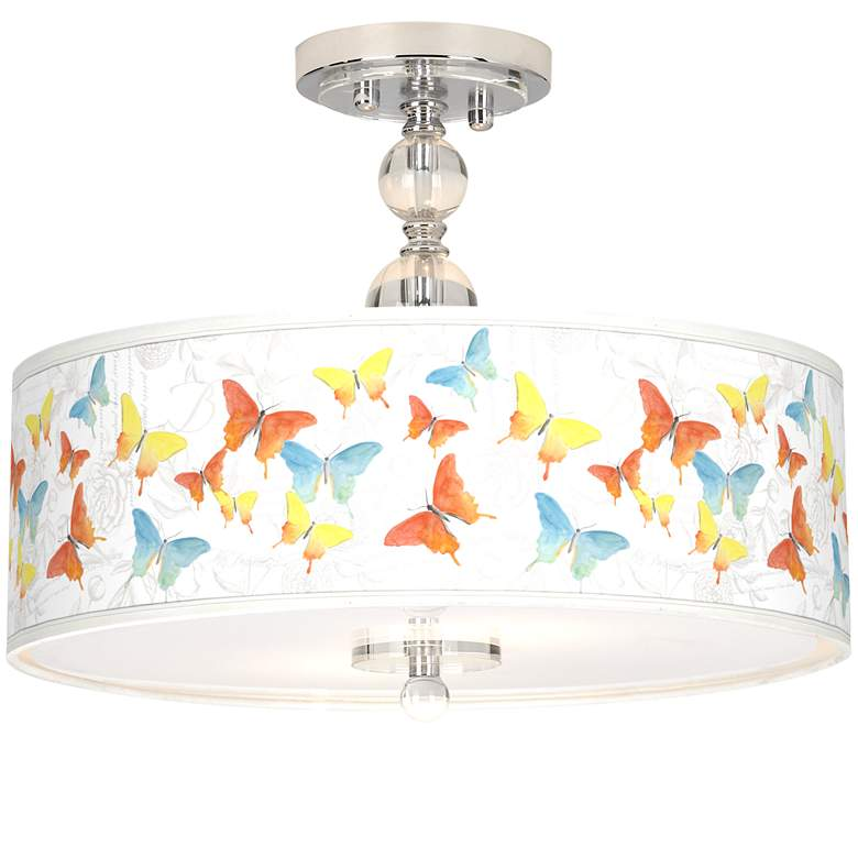 "Pastel Butterflies Giclee 16"" Wide Semi-Flush Ceiling Light"
