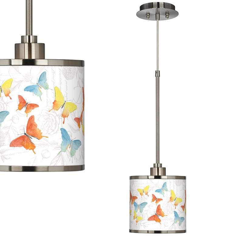 Pastel Butterflies Giclee Glow Mini Pendant Light