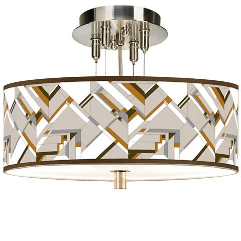 "Craftsman Mosaic Giclee 14"" Wide Ceiling Light"