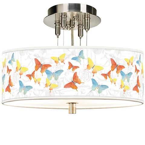 "Pastel Butterflies Giclee 14"" Wide Ceiling Light"