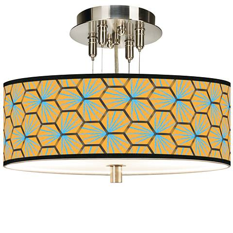 "Hexagon Starburst Giclee 14"" Wide Ceiling Light"